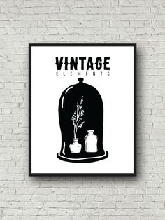 Vintage Hat, Wall Art, Vintage Art, Vintage Print, Printable Hat, Mimalist Art, Printable Poster, Scandinavian Poster, Vintage Elements by BikeRideStudio on Etsy