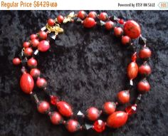 Cyber Monday Sale Vintage Deauville Necklace Red Lucite & Glass 2 Strand Beaded 1950s 1960s Rockabilly High End Mid Century Costume Jewelry by MartiniMermaid on Etsy https://www.etsy.com/listing/215847423/cyber-monday-sale-vintage-deauville