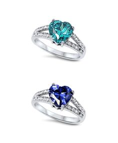 1.80 Carat Tanzanite BlueTopaz Teal Heart Shape Round Russian Diamond CZ Side 925 Sterling Silver Wedding Engagement Promise Ring