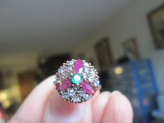 Vintage Art Deco 2.10ctw Emerald, Ruby and White Sapphire Gold/925 Sterling Silver Ring Sz. 6.5, Wt. 4.2 Grams