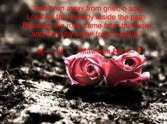 """Don't run away from grief, o soul Look for the remedy inside the pain. Because the rose came from the thorn and the ruby came from a stone.""  ...d(~_~)b...   ~Mawlana Rumi~"