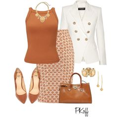 A fashion look from February 2016 featuring tan shirt, balmain blazer and beige skirt. Browse and shop related looks. Mature Fashion, 50 Fashion, Office Fashion, Work Fashion, Autumn Fashion, Fashion Looks, Fashion Outfits, Womens Fashion, Fashion Beauty
