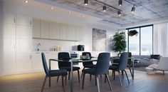 Serious diners only in this office-inspired dining space that could easily double as a shared desk.
