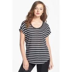 Joie Maddie Linen Tee Joie 'Maddie' stripe scoop neck slub tee. Playful stripes pattern an easy linen-knit tee fashioned with dolman sleeves and a curved shirttail hem. 100% linen. Worn once. Joie Tops Tees - Short Sleeve