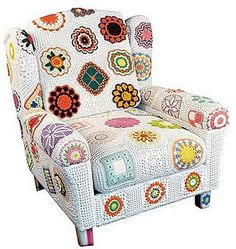 crocheted motif covered chair
