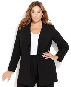 workwear // Calvin Klein Plus Size Single-Button Jacket - Plus Size Sale & Clearance - Plus Sizes - Macy's