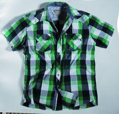 [img-9801-left-thickbox_default] Chemise à carreaux allsize composé 100 % coton  Coloris Bleu et vert Manches courtes deux poches poitrine avec rabat et bouton