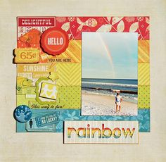 Rainbow - Two Peas in a Bucket, scrapbook page with Echo Park Paradise Beach collection.