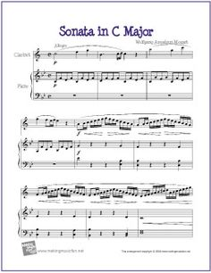 Sonata in C Major (Mozart) | Free Sheet Music for Clarinet - http://makingmusicfun.net/htm/f_printit_free_printable_sheet_music/sonata-in-c-major-clarinet.htm