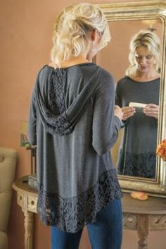 Petites Lace Hem Hoodie from Soft Surroundings