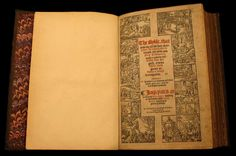 """The Bugge Bible. London, Imprynted by J. Daye and W. Seres, 1549. Bible. English. Matthew's version.   Vancouver Public Library, Special Collections: 220.5 B85MT Known as the """"Bugge Bible"""" because of odd wording in the 5th verse of the 91st Psalm, which reads: """"So that thou shalt not nede to be afrayed for any bugges at night…"""" The King James Bible and all subsequent bibles uses the word """"terror"""" in place of bugges.  The bible was acquired by VPL in the 1930s. Photo credit: Kim McCarthy"""