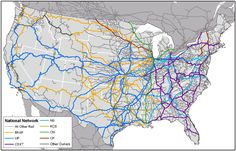 Magnetic Ley Lines in America | The map shows the freight rail network in the United States, including ...