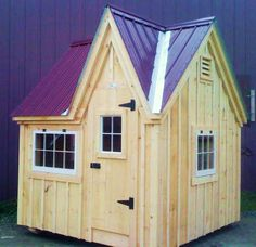 8x8 Dollhouse. Example shows optional Burgundy metal roofing. Available as Plans, Kits - 2 people 20 hours + Fully Assembled in the northeast. Kits ship *Free in the continental US + eastern Canada. http://jamaicacottageshop.com/shop/doll-house-option-1/ http://cdn.jamaicacottageshop.com/wp-content/uploads/pdfs/pdf8x8dh.pdf http://jamaicacottageshop.com/free-shipping/ #playhouses #jamaicacottageshop #garden