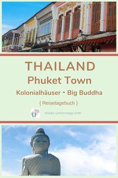 Thailands größte Insel besteht nicht nur aus Strand und Meer:  In Phuket Town gibt es Kolonialhäuser ・allerlei Street-Art ・ein fantastisches #veganes Restaurant. Und in der Nähe von Chalong einen 45 m hohen Big Buddha aus weißem Marmor.⠀⠀⠀⠀⠀⠀⠀⠀⠀⠀⠀⠀⠀⠀⠀⠀  // #madoreisen #madounterwegs👣 #reisetagebuch #asien #thailand #phuket #phuketoldtown #reisetipp #travel #tourismthailand // Werbung, da Firmen-/Marken-/Ort-/Personen-Nennung oder -Verlinkung ohne Auftrag, aber als persönliche Empfehlung // Buddha, Old Town, Strand, Taj Mahal, Phuket Thailand, Movies, Movie Posters, Travel, Restaurant