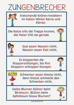 Zungenbrecher - I use tongue twisters to help students work their pronunciation muscles (literally). Use one as a short warm-up or multiple as a lesson. German Grammar, German Words, German Resources, Tongue Twisters, German Language Learning, Reading Practice, Learn German, Teaching Materials, School Hacks