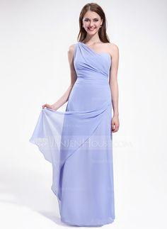 Bridesmaid Dresses - $106.99 - A-Line/Princess One-Shoulder Floor-Length Chiffon Bridesmaid Dress With Ruffle (007025607) http://jenjenhouse.com/A-Line-Princess-One-Shoulder-Floor-Length-Chiffon-Bridesmaid-Dress-With-Ruffle-007025607-g25607