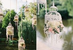Garden Wedding Decoration with Hanging Birdcages Jaulas para tu boda en www. Hanging Bird Cage, Hanging Flowers, Bird Cages, Hanging Lanterns, Paper Lanterns, Paper Flowers, Hanging Centerpiece, Hanging Beads, White Lanterns