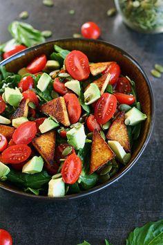 Tomato Basil Salad with Seasoned Tofu. Made Just Right. Earth Balance. Plant Based.