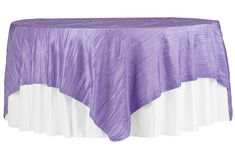 """Accordion Crinkle Taffeta Table Overlay Topper 85""""x85"""" Square - Victorian Lilac ● As Low as $9.99 ● Available from www.cvlinens.com"""