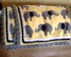 Fleece blanket with crochet edging following Pinterest directions on my Yarn board