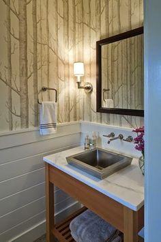 Hutker Architects - bathr - Deco How to Crafts Bathroom Mirror With Shelf, Wood Bathroom, Downstairs Bathroom, Bathroom Renos, Bathroom Furniture, Modern Bathroom, Bathroom Ideas, Upstairs Hallway, Small Bathrooms