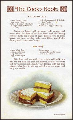 KC Cream Cake::1930's Recipe by Daily Bungalow,