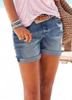 e3ad5fee85 Buffalo London Worn Look Denim Shorts