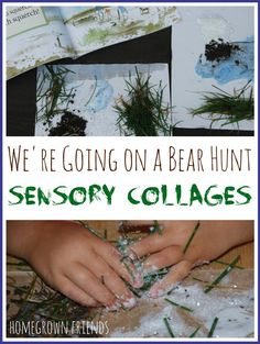 What a clever way to explore the book! Love these Bear Hunt Sensory Collages! Sensory Activities, Classroom Activities, Preschool Activities, Prek Literacy, Camping Activities, Sensory Bins, Preschool Classroom, Sensory Play, Classroom Ideas