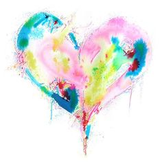 High resolution digital file of a colourful love heart painting Watercolor Heart, Abstract Watercolor, Watercolor Paintings, Watercolours, Pop Design, Sketch Design, Design Concepts, Design Design, Graphic Design