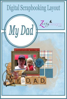 """""""My Dad"""" is a digital scrapbooking collection that can be used for a multitude of masculine inspired pages, across the generations.  This collection is one that will have you wanting to use it over and over and over again!"""