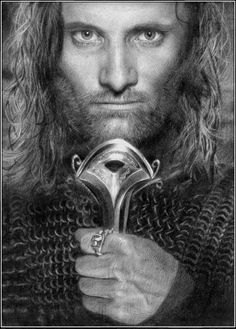 """""""Aragorn"""" (actor Viggo Mortensen in """"Lord of the Rings"""") - pencil drawing by Thomas M Madsen"""