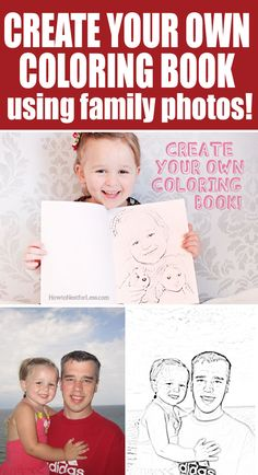 Make your own coloring book with family photos using Photoshop Elements via howtonestforless.com