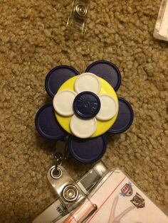 Blue and Yellow Vial Badge Reel