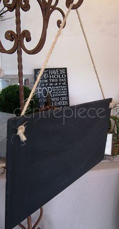 Blackboard Hanging with Rope - welcome to our wedding Country Christmas, Christmas Ideas, Welcome To Our Wedding, Blackboards, Wedding Inspiration, Wedding Ideas, Special Day, Hold On, Centerpieces