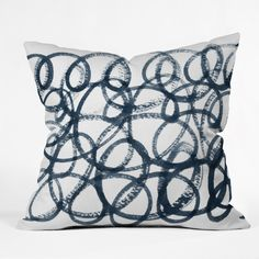 Social Proper Navy Swirls Throw Pillow | 30% off as part of 12 Days of Holiday sale! #DenyHoliday