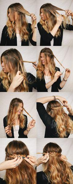 Chica rubia haciendo trenzas para formar una diadema y dejar el resto del cabello suelto