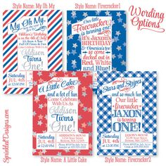 4th of July First Birthday Invitation for Boy or Girl by SprinkledDesign