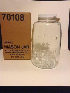 Vintage Libbey Mason Pickle 2 1/2 Gallon Glass NOS 1858 Eagle Lid Handle Jar