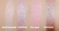 NARS Andromeda, Callisto, Europa and Himalia Dual Intensity Eyeshadow Swatches