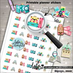 Travel Stickers, Printable Planner Stickers, Luggage Stickers, Kawaii Stickers, Vacation Stickers, Planner Accessories, Trip Stickers, Cute