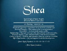 shea name - the meaning is so true