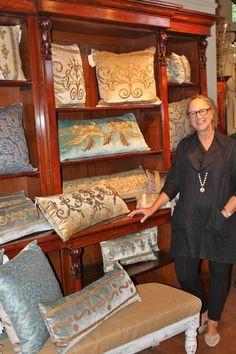 Rebecca Vizard and the pillows she creates with antique European metallic embroidery, on pale velvets | B. Viz Design | bviz.com