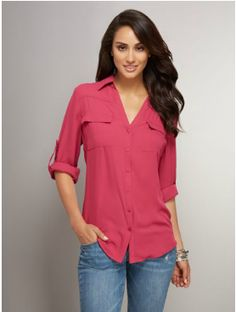 Button-Front Patch-Pocket Blouse Style  02418617. This button-front blouse brings sophistication to the workplace and beyond with a classic shirt collar and patch pockets; a flowy fabric, roll-tab sleeves and relaxed curved hem balances the structured appeal.   http://www.nyandcompany.com/nyco/prod/New-Arrivals/Tops/Button-Front-Patch-Pocket-Blouse