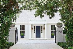 59 Super Ideas Exterior Paint Colours For House Trim Revere Pewter Best Exterior Paint, Exterior Paint Colors For House, Paint Colors For Home, Exterior Design, Paint Colours, Brick Design, Door Design, White Brick Houses, White Exterior Houses