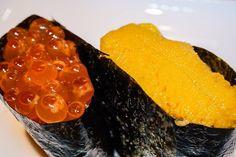 Ikura salmon roe and Uni sea urchin roe at Sushi ii - #uni #ikura #unisushi #ikurasushi #sushiii #sushi #food #imenehunes