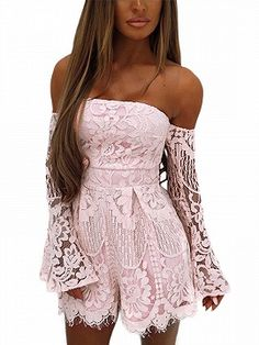Shop Pink Off Shoulder Flare Sleeve Lace Romper Playsuit from choies.com  .Free shipping 7039dd9b3631d