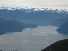 Cypress view of Howe Sound looking northwest towards the Sunshine Coast side - Gambier on the left, Anvil on the right.