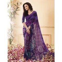 Purple and Navy Blue color Printed Chiffon saree