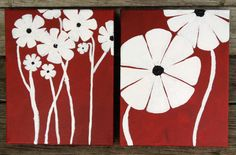 White on Red Multi abstract flowers by JosieDanielleDesigns