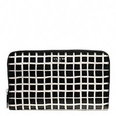 BLEECKER BLACK AND WHITE PRINT COATED CANVAS CONTINENTAL ZIP WALLET